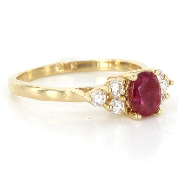 ccffba200d7 Vintage 14 Karat Yellow Gold Diamond Natural Ruby Small   Etsy