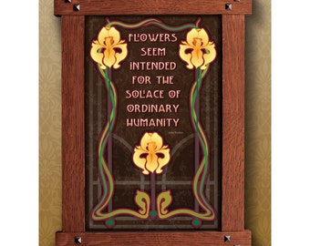 Arts and Crafts Framed Print. Flower, Garden Philosophy subject. Great for Arts and Crafts, Mission style and Craftsman homes.