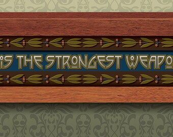 Arts and Crafts Framed Print. The Mind is the Strongest Weapon Quote. Great for Arts and Crafts, Mission style and Craftsman homes.