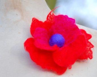 Felted Wool Flower Brooch Pin or Hair Clip Felt Boho Fairy Pixie Nymph Dryad Hippie Gypsy Brooch OOAK Felted Art Red Pink Large