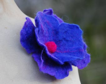 Felted Wool Flower Brooch Pin or Hair Clip Felt Boho Fairy Pixie Nymph Dryad Hippie Gypsy Brooch OOAK Felted Art Large