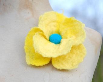Felted Wool Flower Brooch Pin or Hair Clip Felt Boho Fairy Pixie Nymph Dryad Hippie Gypsy Brooch OOAK Felted Art Yellow Teal Large