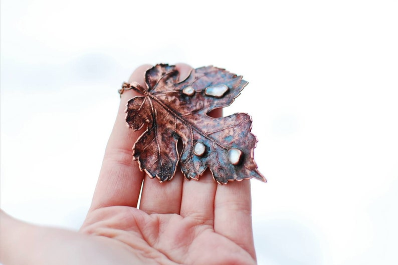 Electroformed Copper and Aura Quartz Real Leaf Pendant Healing Necklace OOAK Fairy Pixie Elf Nymph Dryad Boho Hippie Gypsy Woodland