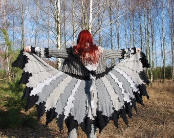 Forest Fairy Pixie Elvish Recycled Sweater Coat Upcycled Gypsy Sweater Coat Hippie Boho Pagan Nymph Dryad Woodland Festival clothing OOAK