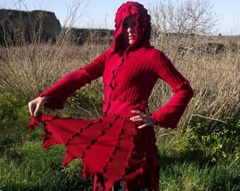 Deep Red Fairy Pixie Elvish Recycled Sweater Coat Upcycled Gypsy Sweater Coat Hippie Boho Pagan Woodland Festival clothing