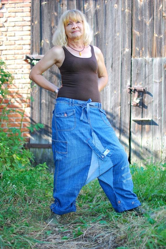 Recycled Denim Patchwork Harem Pants Upcycled Jeans Yoga Pants Drop Crotch Trousers Unisex Boho Hippie Gypsy Nomad Aladdin Genie Loose Pants