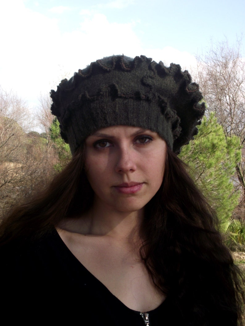 Recycled wool fabric beanie hat Upcycled hat Wool hat Wool beret OOAK Chunky hat Brown hat
