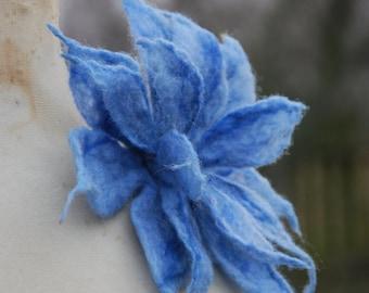 Felted Wool Flower Brooch pin Felt Boho Fairy Pixie Nymph Dryad Hippie Gypsy Brooch OOAK Felted Art Blue Large