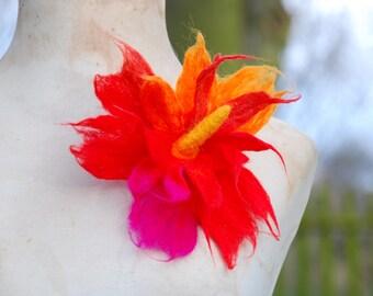Felted Wool Flower Brooch Pin or Hair Clip Felt Boho Fairy Pixie Nymph Dryad Hippie Gypsy Brooch OOAK Felted Art Red Pink Orange Large