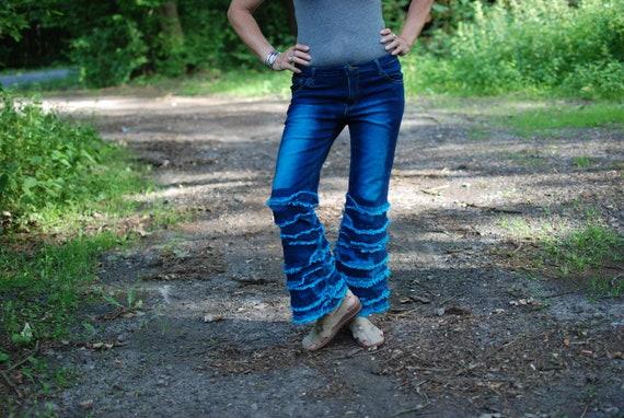 Long Denim Flare Pants by METAMORPHOZA