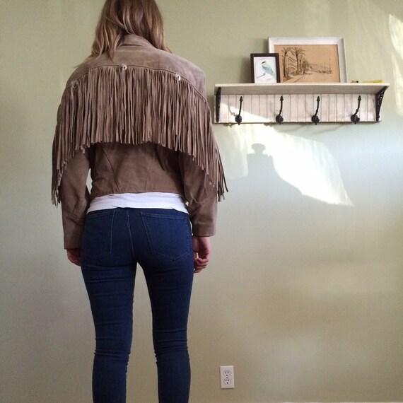 Suede leather Fringe Crop Jacket Sz M L