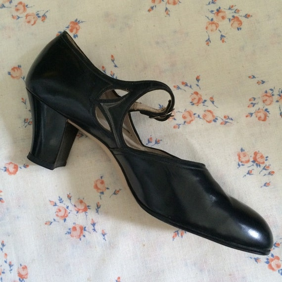 Black Leather Mary Janes Edwardian Depression