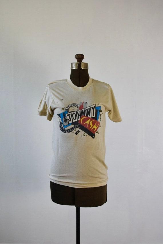 Sz Med Johnny Cash 80s vintage Screen Stars T Shir