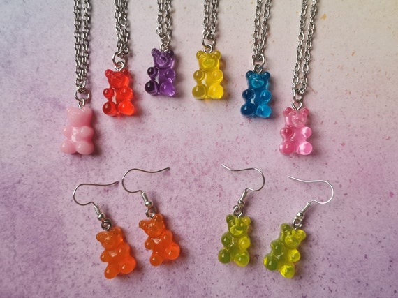 Gummy Bear Colourful Matching Necklace  Earring Sets  Kitsch  Miniature  Food  Candy  Sweets