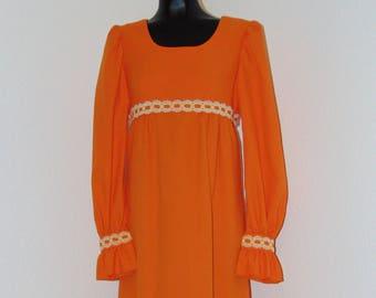 Vintage 1970s Orange Dress with Ruffled Cuffs..Nice!