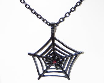 Black Spider Web necklace & Matching Earrings