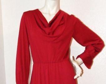 Vintage 1970s Long Maroon Cowl Neck Dress- Very Nice