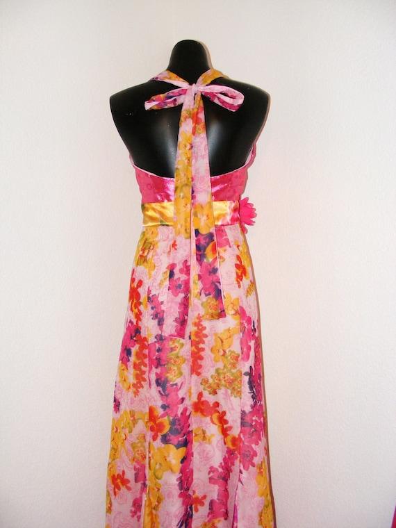Vintage 1970s Hot Pink Halter top Floral dress...… - image 5