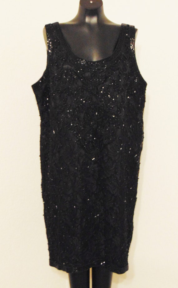 Vintage 1980s Gorgeous Black Beaded Dress in sz 2X