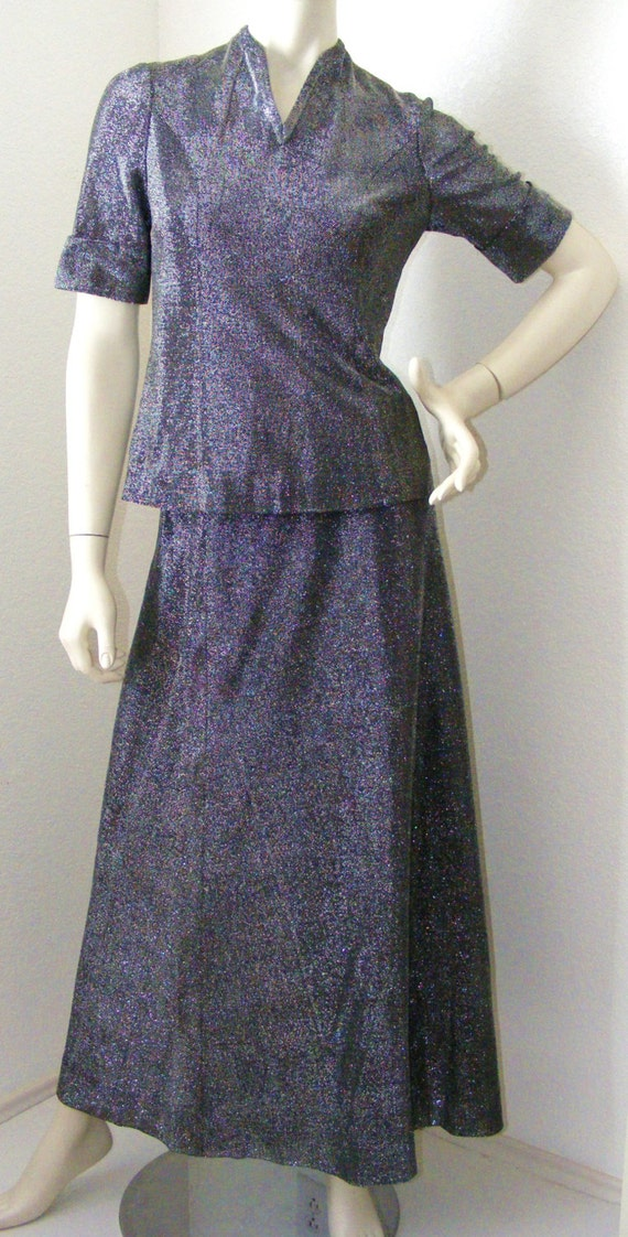 Vintage 1970s Sparkly Long Skirt with Matching Top
