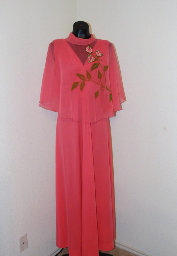 Vintage 1960s Pink Dress with Embroidered Capelet