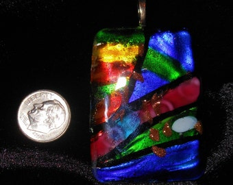 Colorful Large Dichroic glass pendant