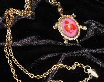 Spotted Pink Turtle Vintage Pendant with Chain