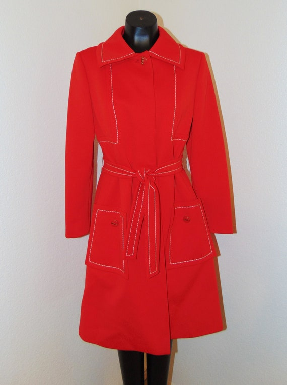 Vintage 1960s Red Coat by Lilli Ann Knit sz Medium