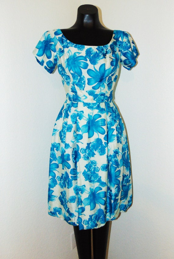 Vintage 1950s Blue Floral Wrap Design Dress...Gorg