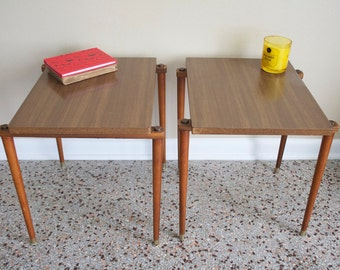 Mid Century Modern Nesting Tables - Vintage 1960s Stacking Tables - Side Tables - Nightstands - Danish Modern