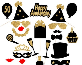 50th Anniversary Decorations 37pc Anniversary Photo Booth Props Anniversary Black and Gold Glitter Party Decorations Golden Anniversary