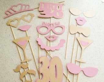 Pink & Gold Birthday Decorations 17pc Dirty 30 Decorations Birthday Photo Prop 30th Birthday Decoration Blush and Gold Birthday 30th For Her
