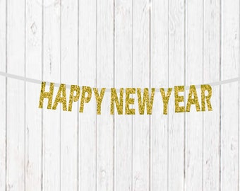 happy new year banner gold glitter new year banner new years eve decorations glitter banner gold new years black and gold decorations