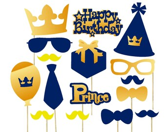 Royal Prince Party Decorations 16pc Prince Photo Props 1st Birthday Prince Theme Royal Blue and Gold Party Decorations Birthday Photo Props