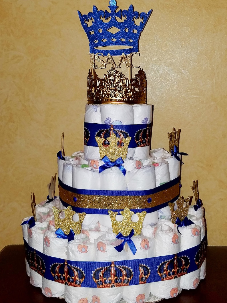Royal Baby Shower Cake Topper And 12 Gold Glitter Crown Pick Etsy