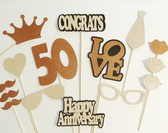 Photo Booth Props 50th Anniversary Party Decor 15pc set LOTS of glitter! Wedding Anniversary Decorations 50th Wedding Props 50 Years Loved