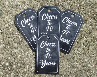 Cheers to 40 Years Favor Tags 12 Chalkboard 40th BIrthday Favor Tags Chalkboard Mini Wine Bottle Tags 40th Anniversity Favor Tag 40th Favor