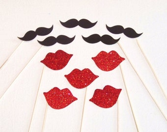 Sale! Photo Booth Props 10 pc Glitter Mustache and Lips on a Stick Photobooth Props Mustache Party Photobooth Wedding Photo Booth Props