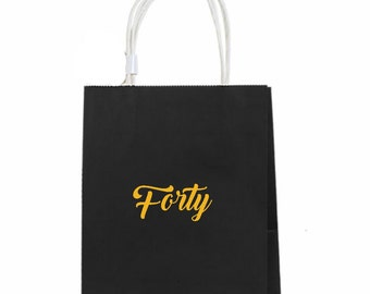 40th Birthday Gift Bags 40th Anniversary Favor Bags 12 Cheers to 40 Years Favor Bags Black and Gold 40th Forty Birthday 40th Gift Bag