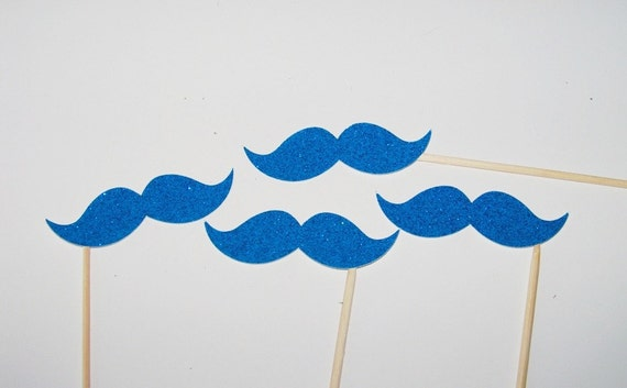 SALE Mustache Photo Booth Prop Party 10 Blue Glitter