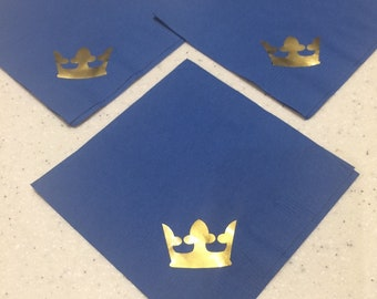Royal Prince Baby Shower Decoration 20 Royal Blue and Gold Cocktail Napkin Royal Prince Birthday Royal Prince Decoration Royal & Gold Decor