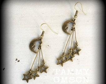 Moon earrings Star earrings Celestial earrings Moon and Star earrings Space earrings Boho earrings Pierced ears Tapers Gauges 0g 2g 4g 6g 8g