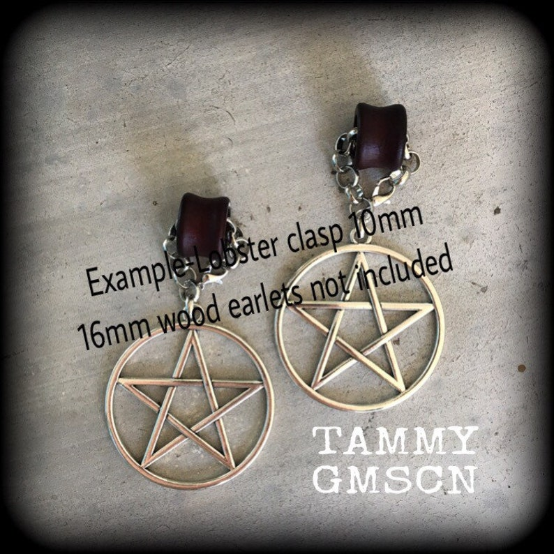 00 gauge 10mm weights Pentagram ear hangers Pentacle Tunnel dangles Gauged earrings Plug dangles Tunnel hangers Plug hangers Hanging gauges