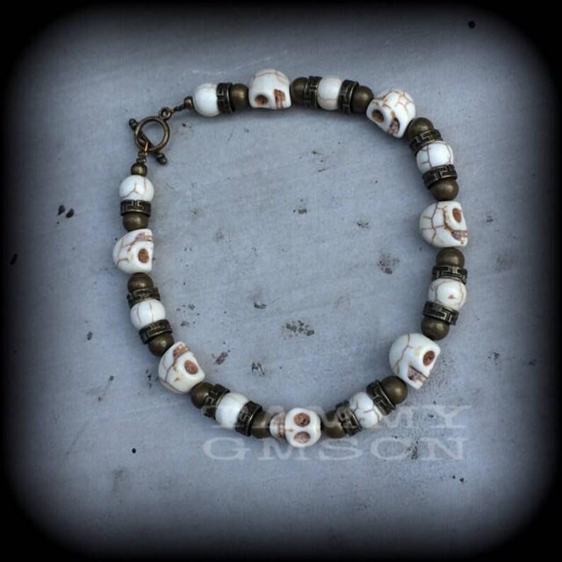 Voodoo bracelet Damballah bracelet Skull bracelet Bronze bracelet Halloween Los Muertos Santeria Gothic bracelet Loa bracelet Skull jewelry