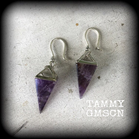 Faceted amethyst mixed metals ear weights tunnel hangers 18g 2g medium
