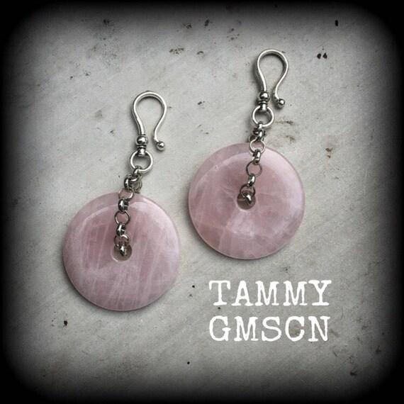 Pink Druzy Tunnel dangles Gemstone ear hangers Quartz Plug dangles Hanging gauges Plug gauges Gauged earrings Ear weights 00g 0g 2g 4g