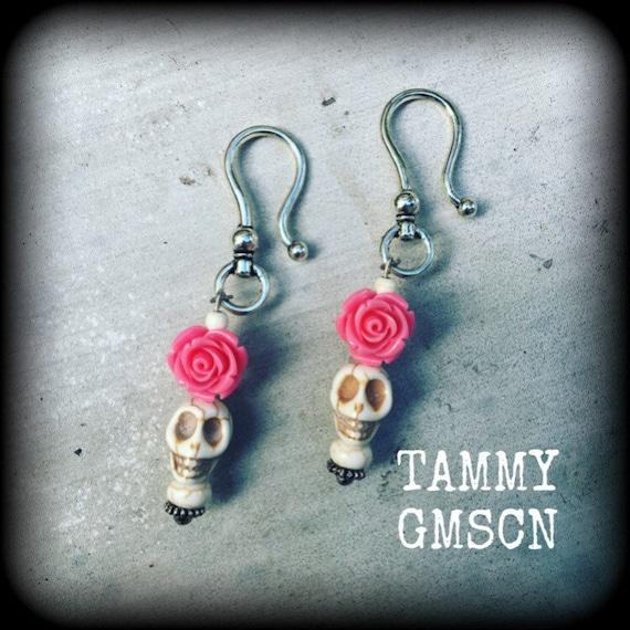 Pair Of Pink SILVER ROSE DANGLE SALLY SKELLINGTON EAR GAUGES PLUGS STRETCHING