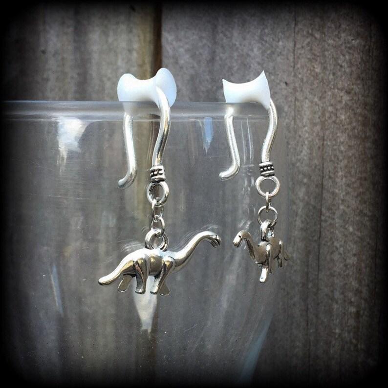 Tunnel earrings 2 gauge Plug dangles 0 gauge Dinosaur ear hangers with silicone earlets 4 gauge Plug earrings 6 gauge Tunnel dangles