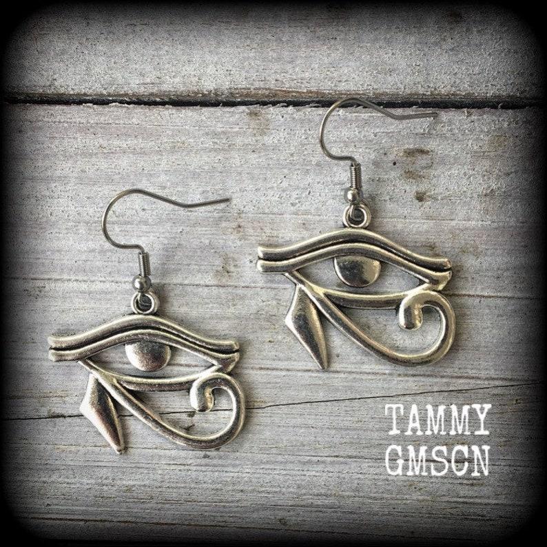 Eye of Ra earrings Egyptian earrings Egyptian jewelry Gothic earrings Gauged earrings 16g 14g 12g 10g 8g 6g 4g 2g 0g 00g 716 12 58