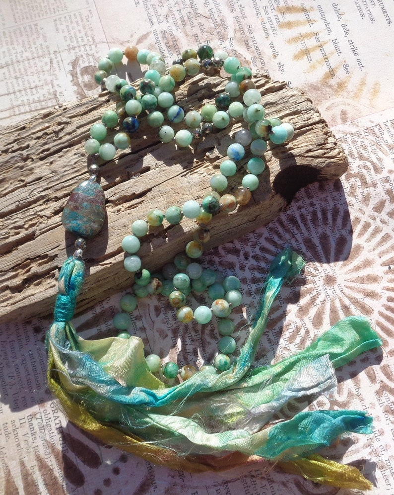 Chrysocolla and Azurite Mala